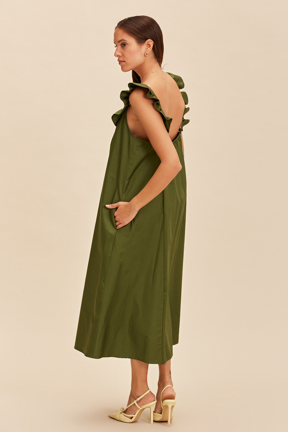 Midi Sleeveless Dress - Olive-5