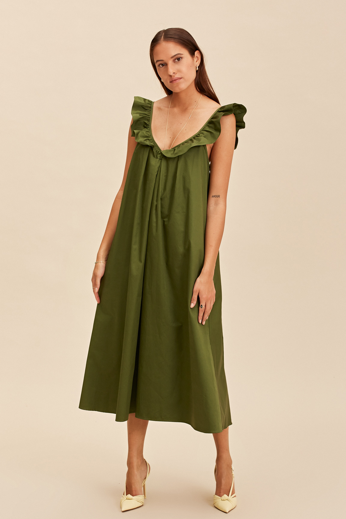 Midi Sleeveless Dress - Olive-2