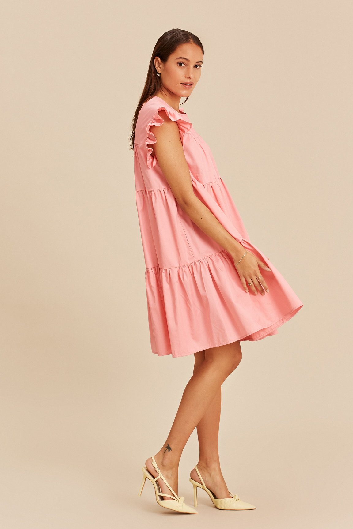 Short Dress with Ruffles - Pink-4