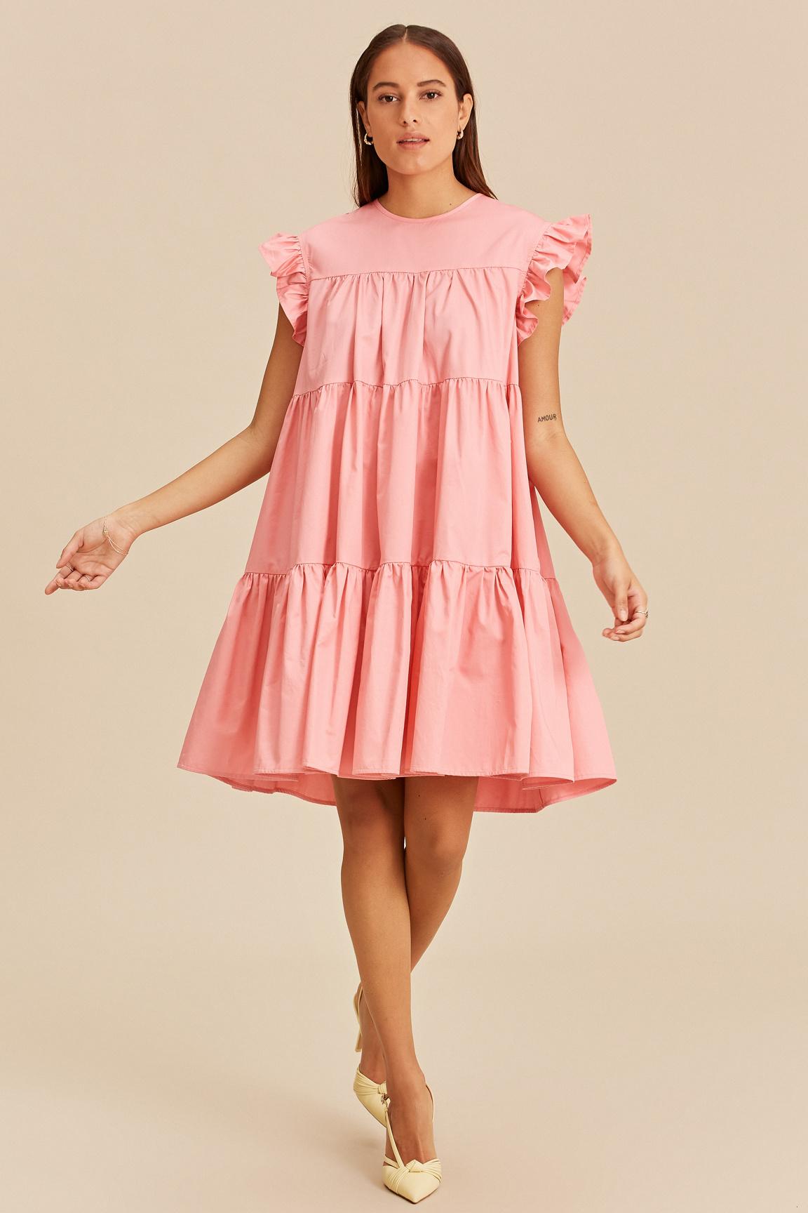 Short Dress with Ruffles - Pink-1