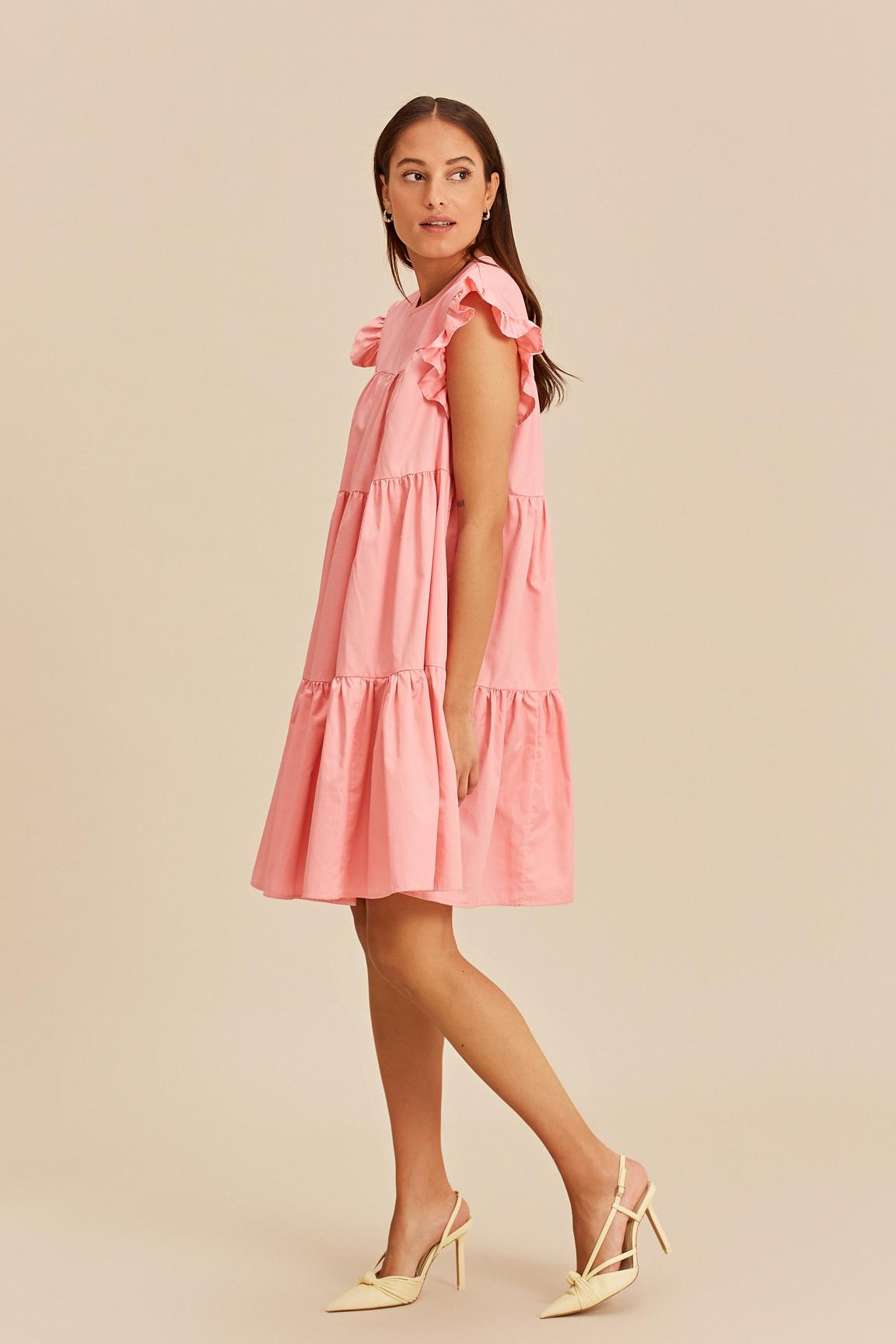 Short Dress with Ruffles - Pink-2