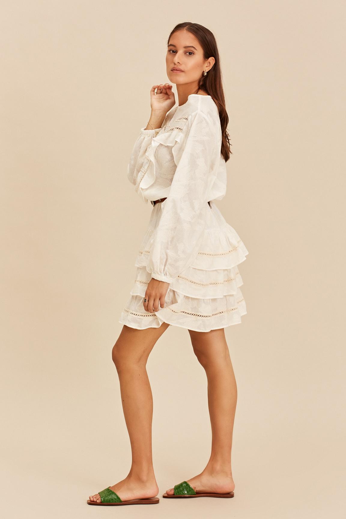 Short Dress with Ruffle - Ecru-3
