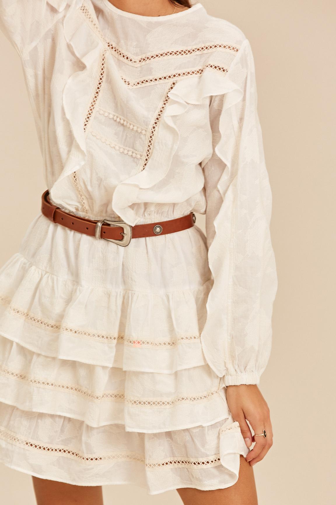 Short Dress with Ruffle - Ecru-4