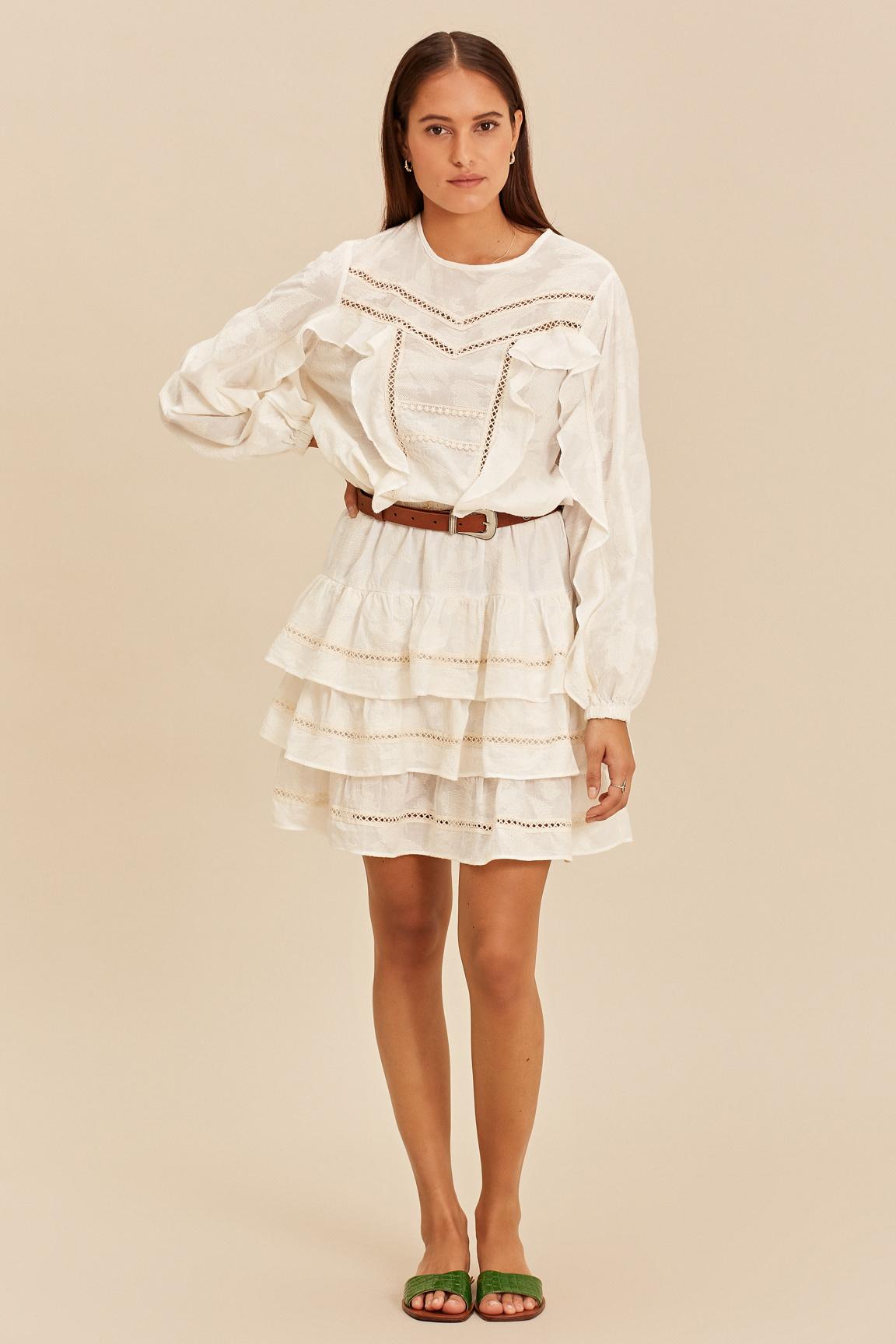 Short Dress with Ruffle - Ecru-5