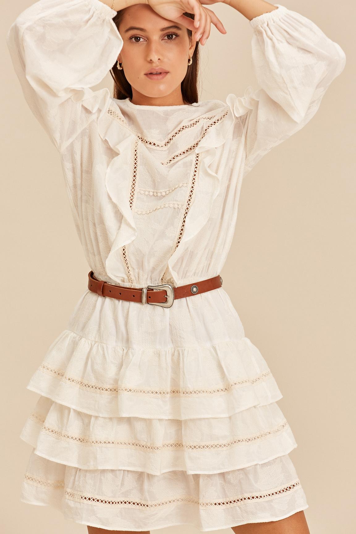 Short Dress with Ruffle - Ecru-2