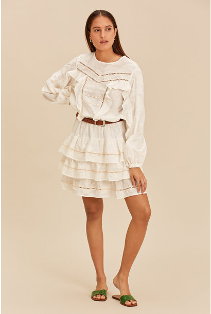 Short Dress with Ruffle - Ecru