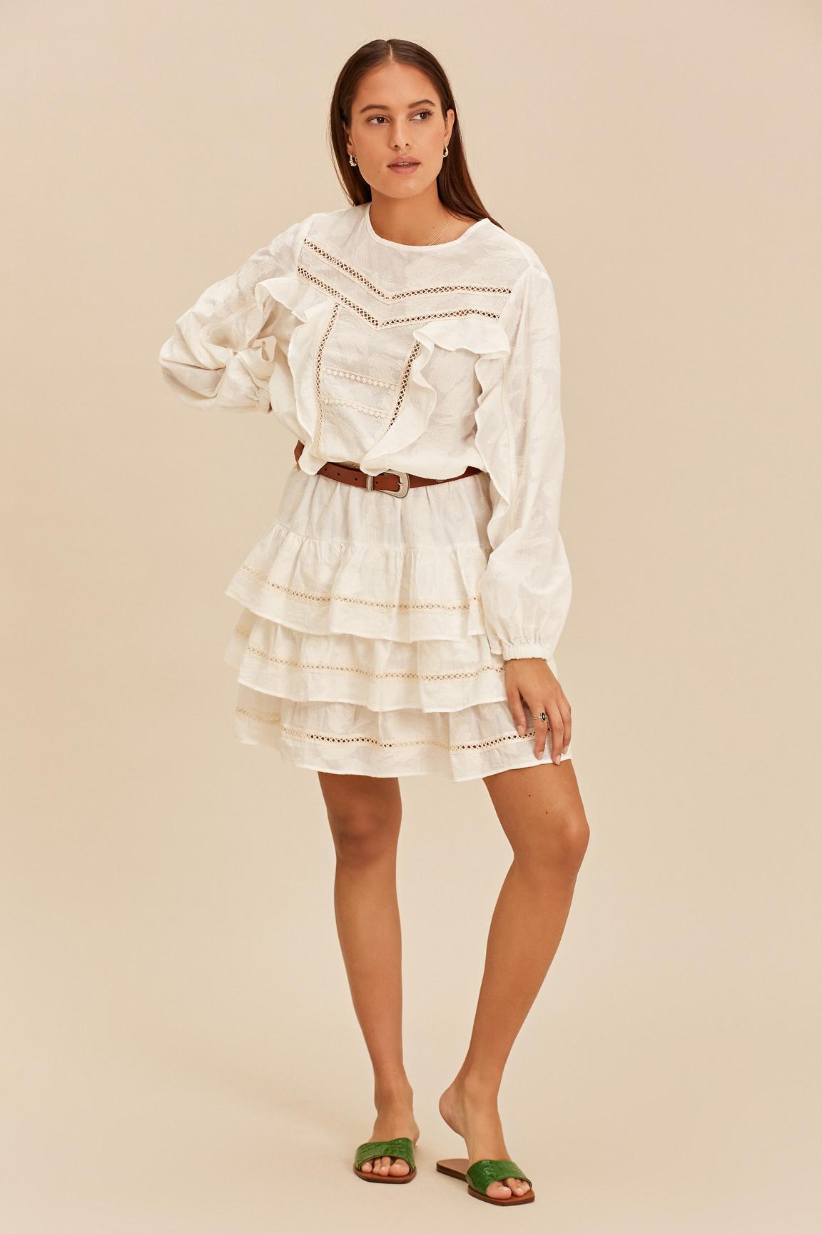 Short Dress with Ruffle - Ecru-1