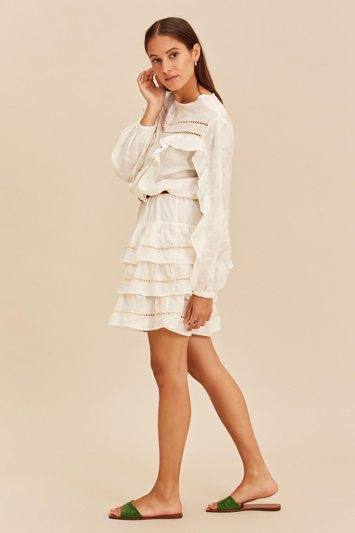 Short Dress with Ruffle - Ecru-6