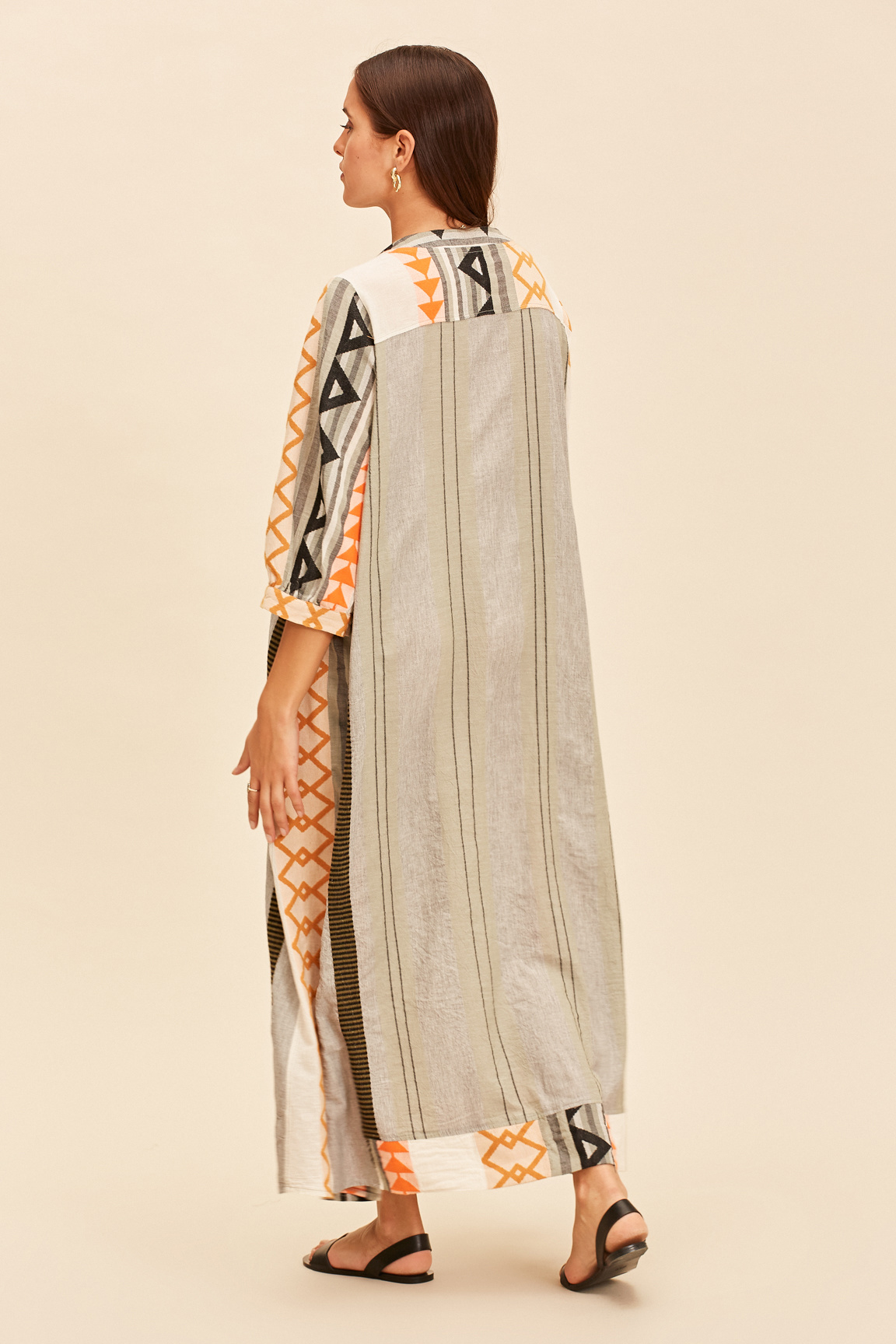 Long Kaftan Dress Malmo - Khaki-3