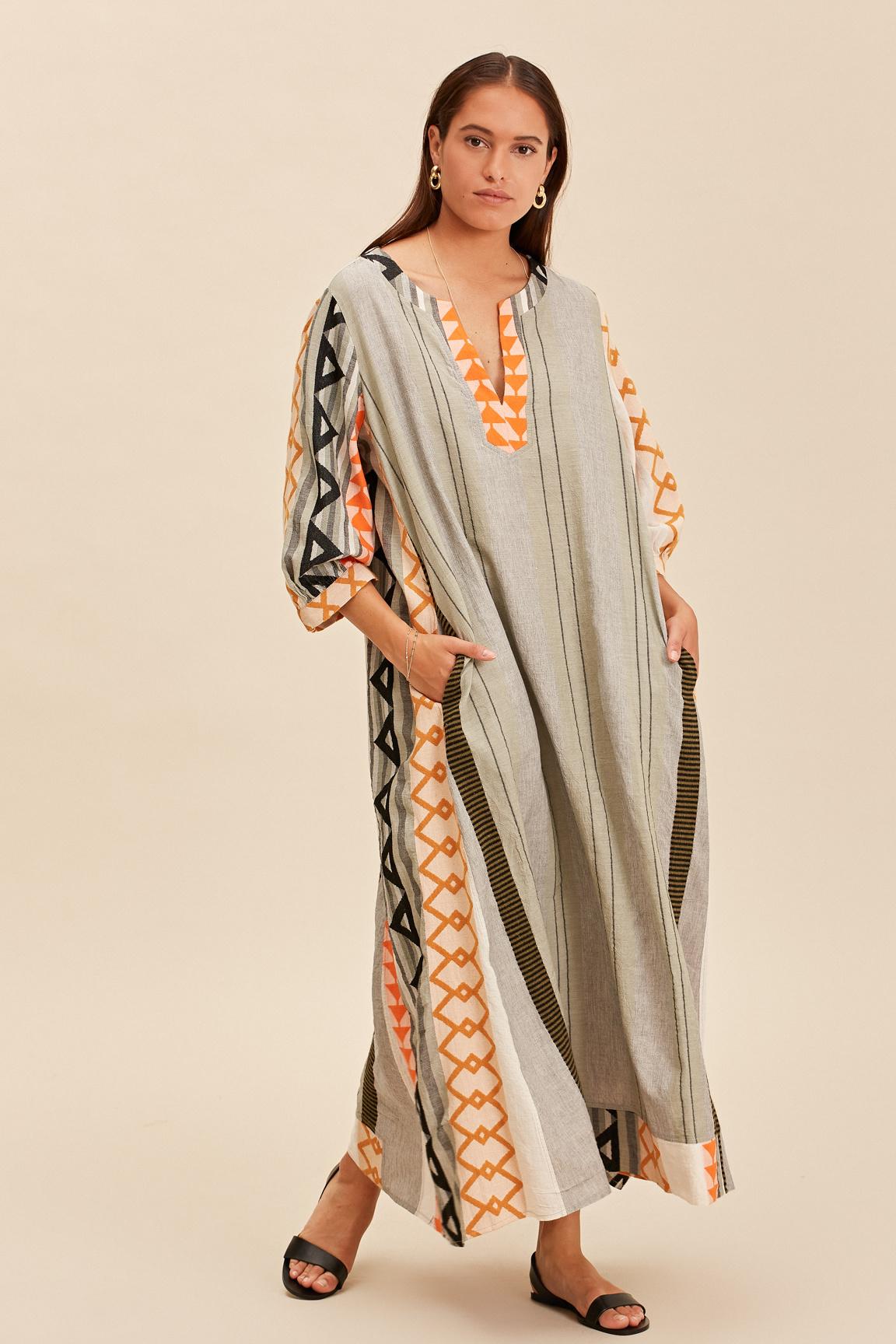 Long Kaftan Dress Malmo - Khaki-1