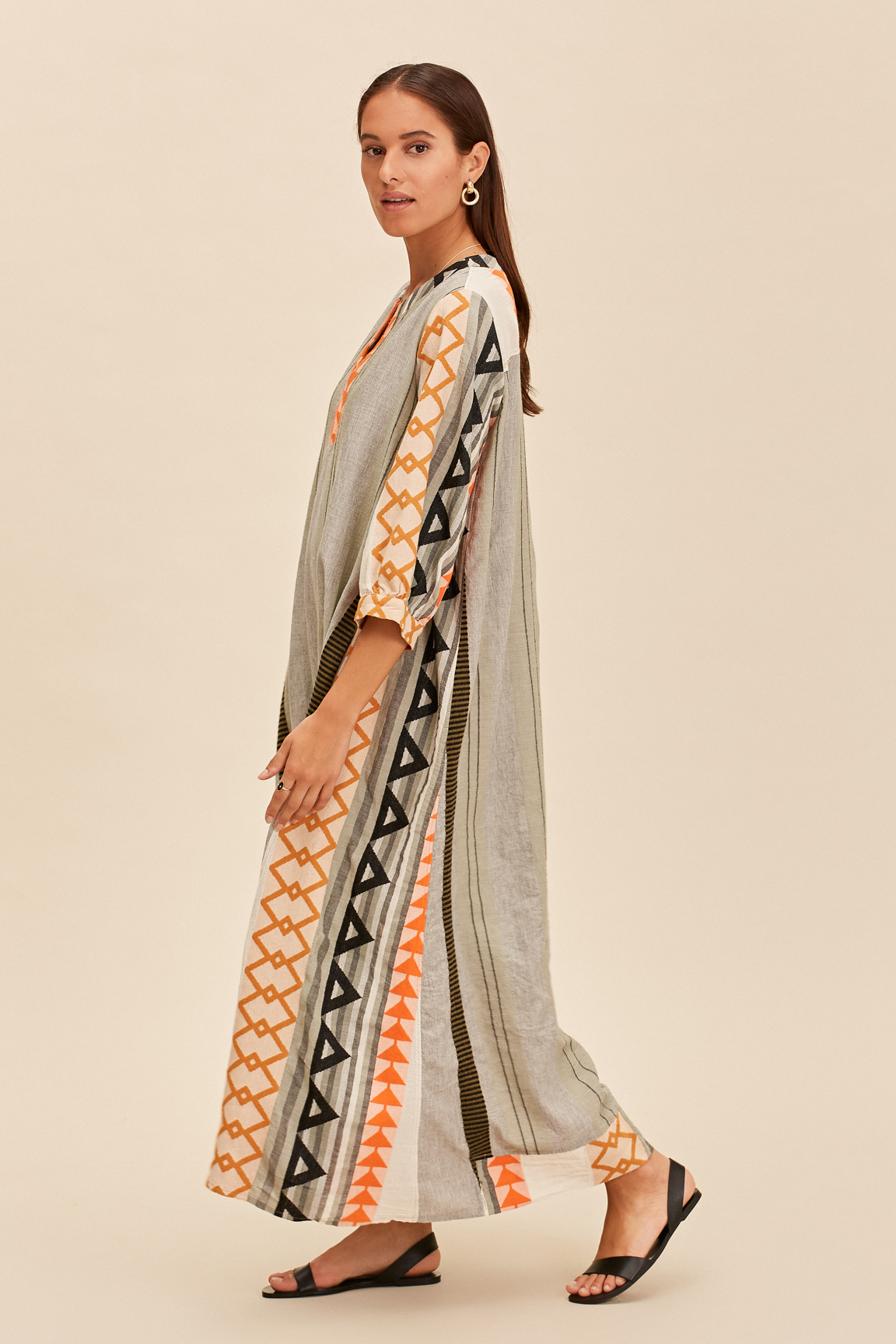 Long Kaftan Dress Malmo - Khaki-2