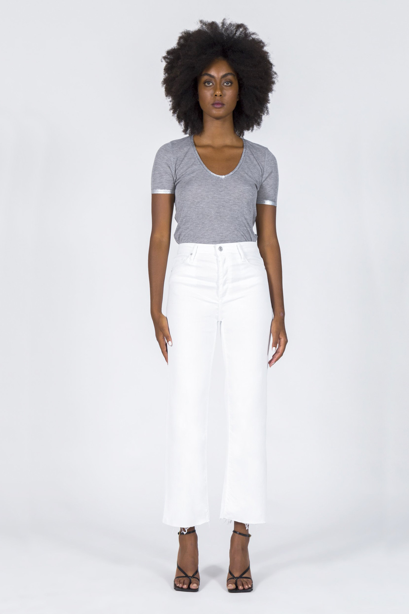 Marisa Relaxed Straight Fray Jeans - Snow White-3