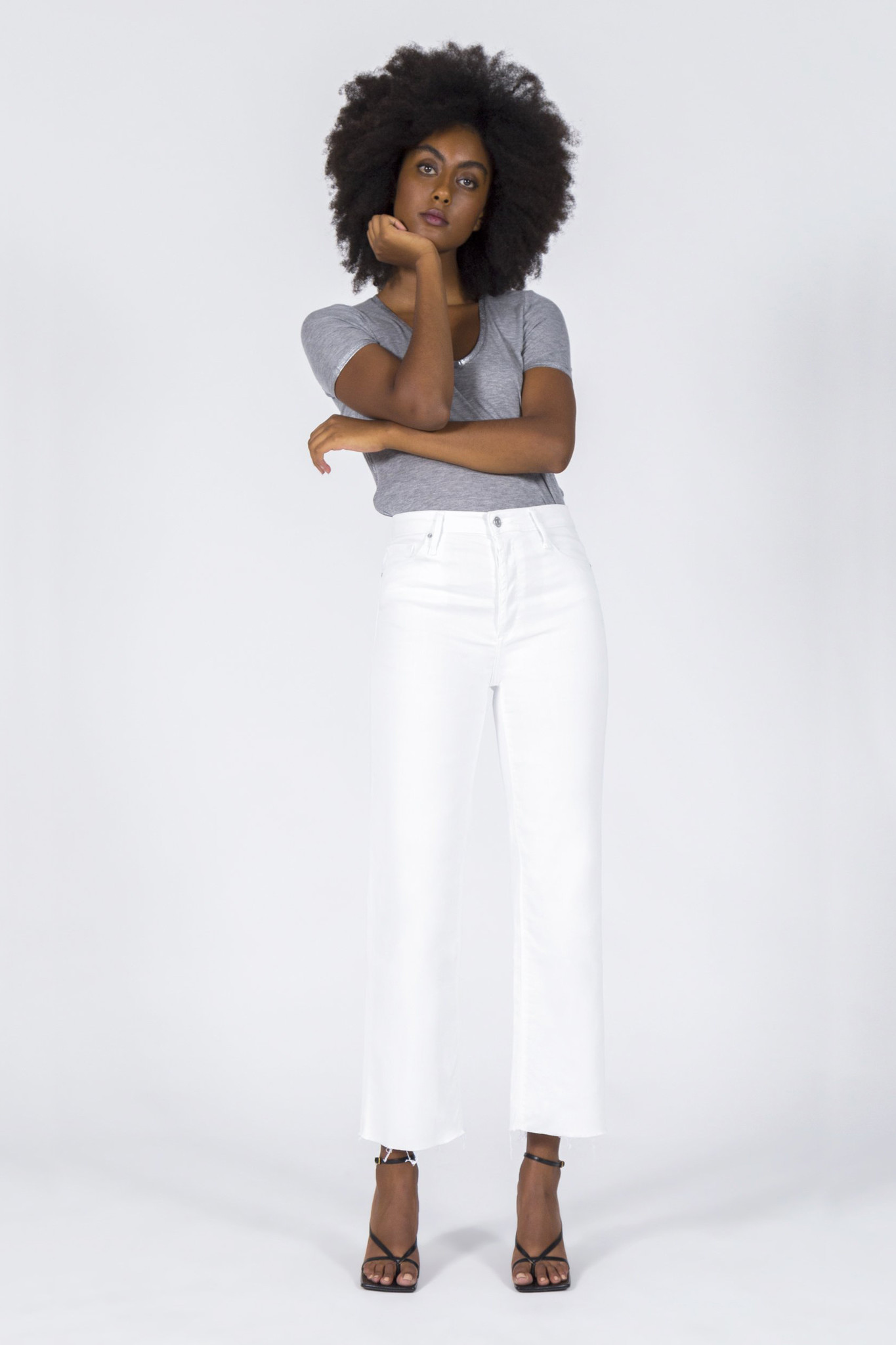 Marisa Relaxed Straight Fray Jeans - Snow White-5