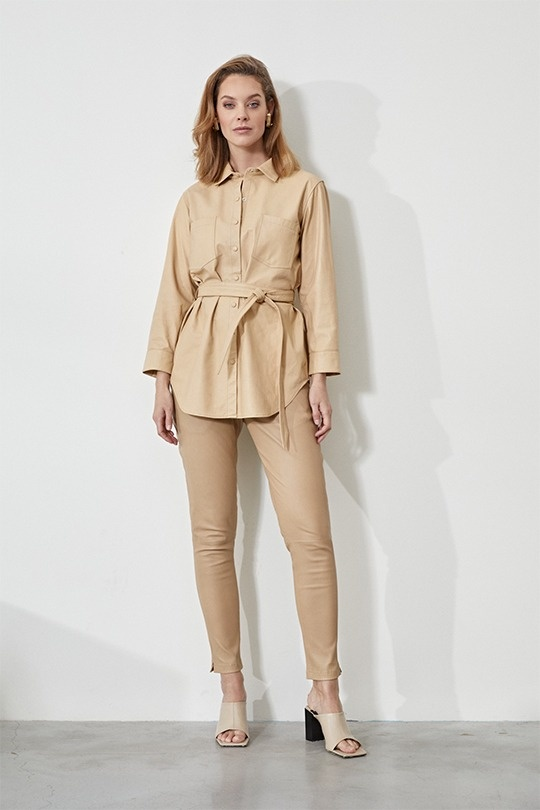 Tabby Leather Blouse - Beige-3