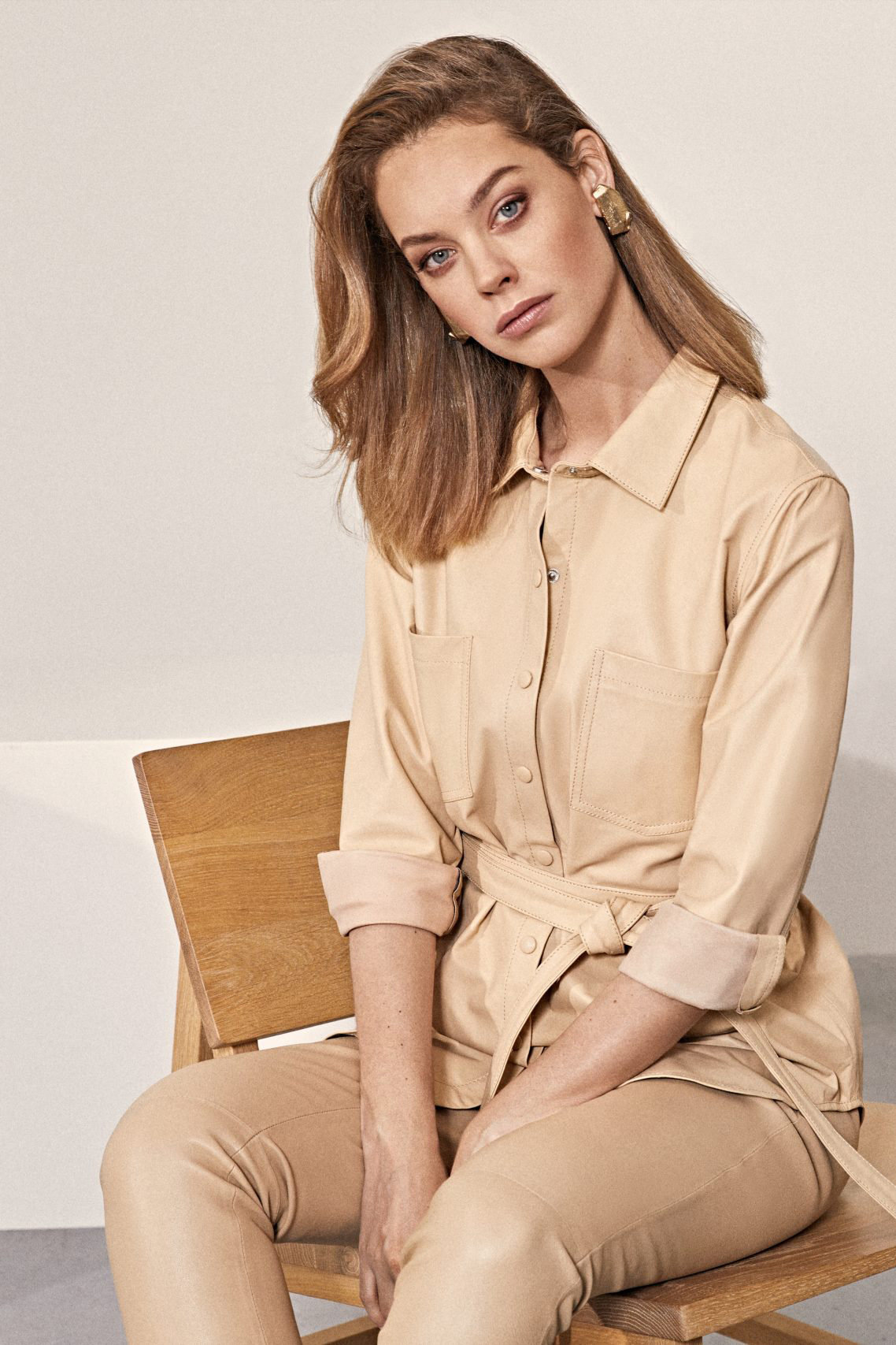 Tabby Leather Blouse - Beige-2