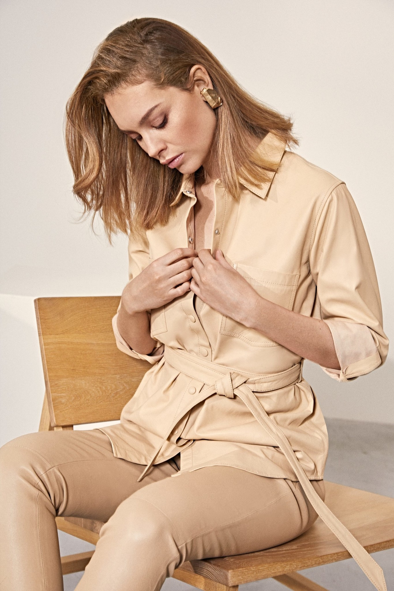 Tabby Leather Blouse - Beige-4