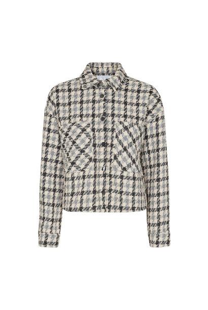 Betty Boucle Check Shirt Jacket - Bone