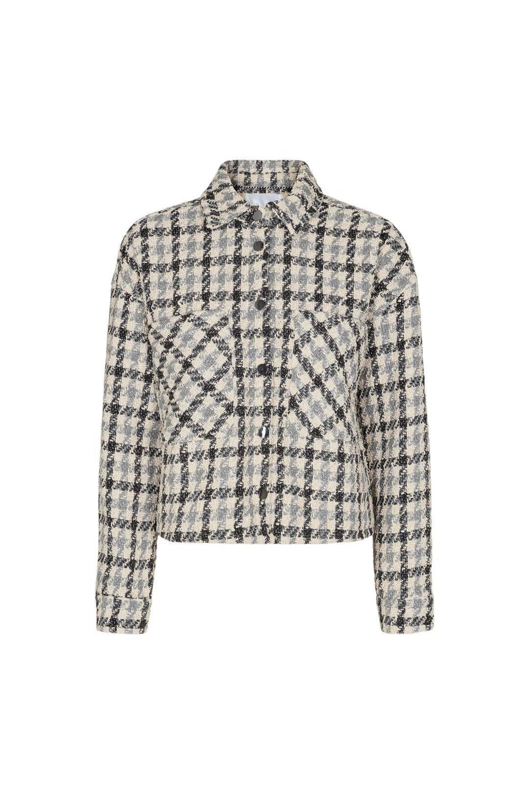 Betty Boucle Check Shirt Jacket - Bone-1