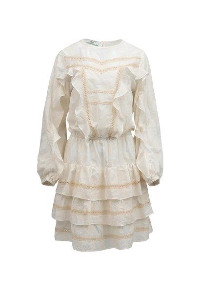 Short Dress with Ruffle - Ecru