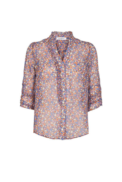 Amore Flower Frill Shirt - Purple