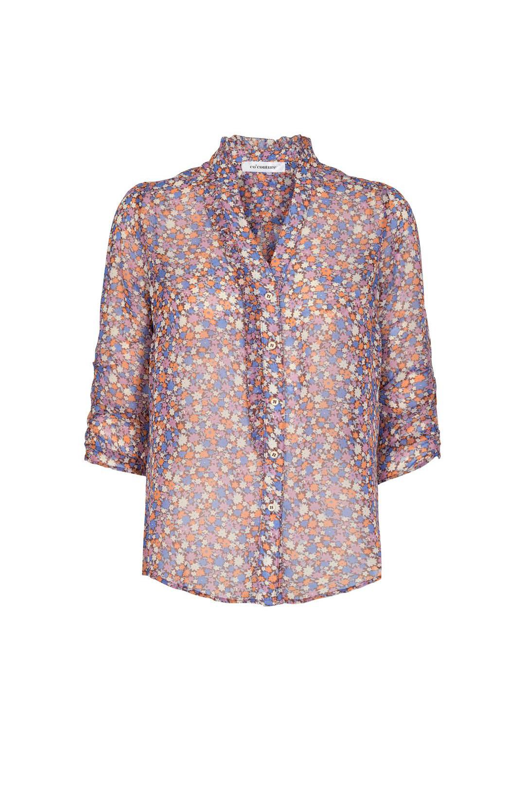 Amore Flower Frill Shirt - Purple-1
