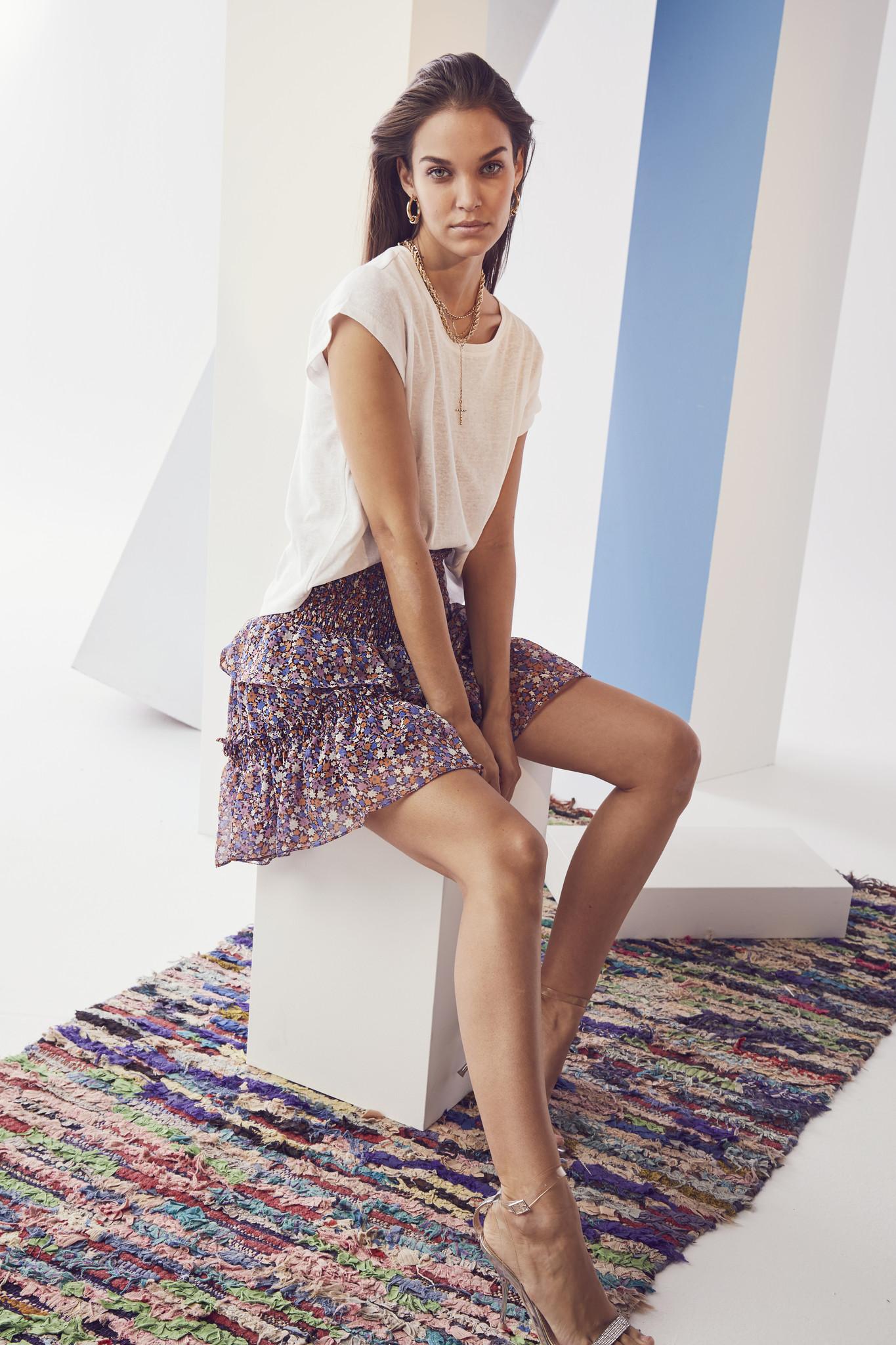 Amore Flower Smock Skirt - Purple-2