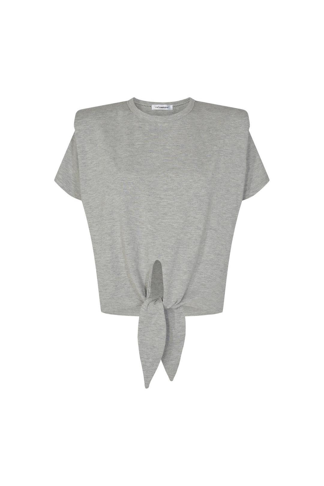 Eduarda Knot Tee - Grey Melange-1