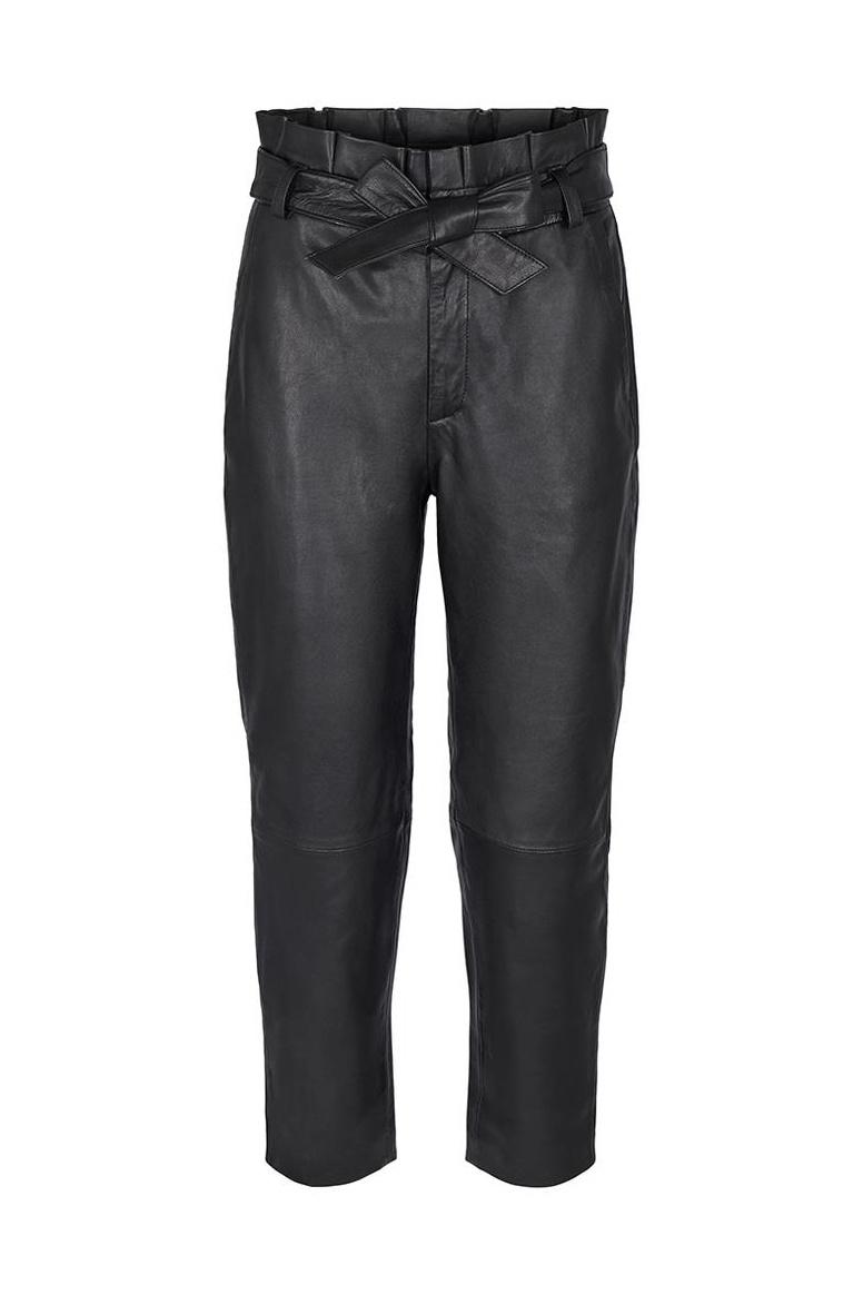 Phoebe Leather Pant - Black-1