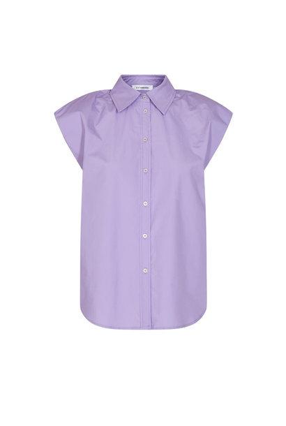 Yates Boxy Shoulder Shirt - Purple