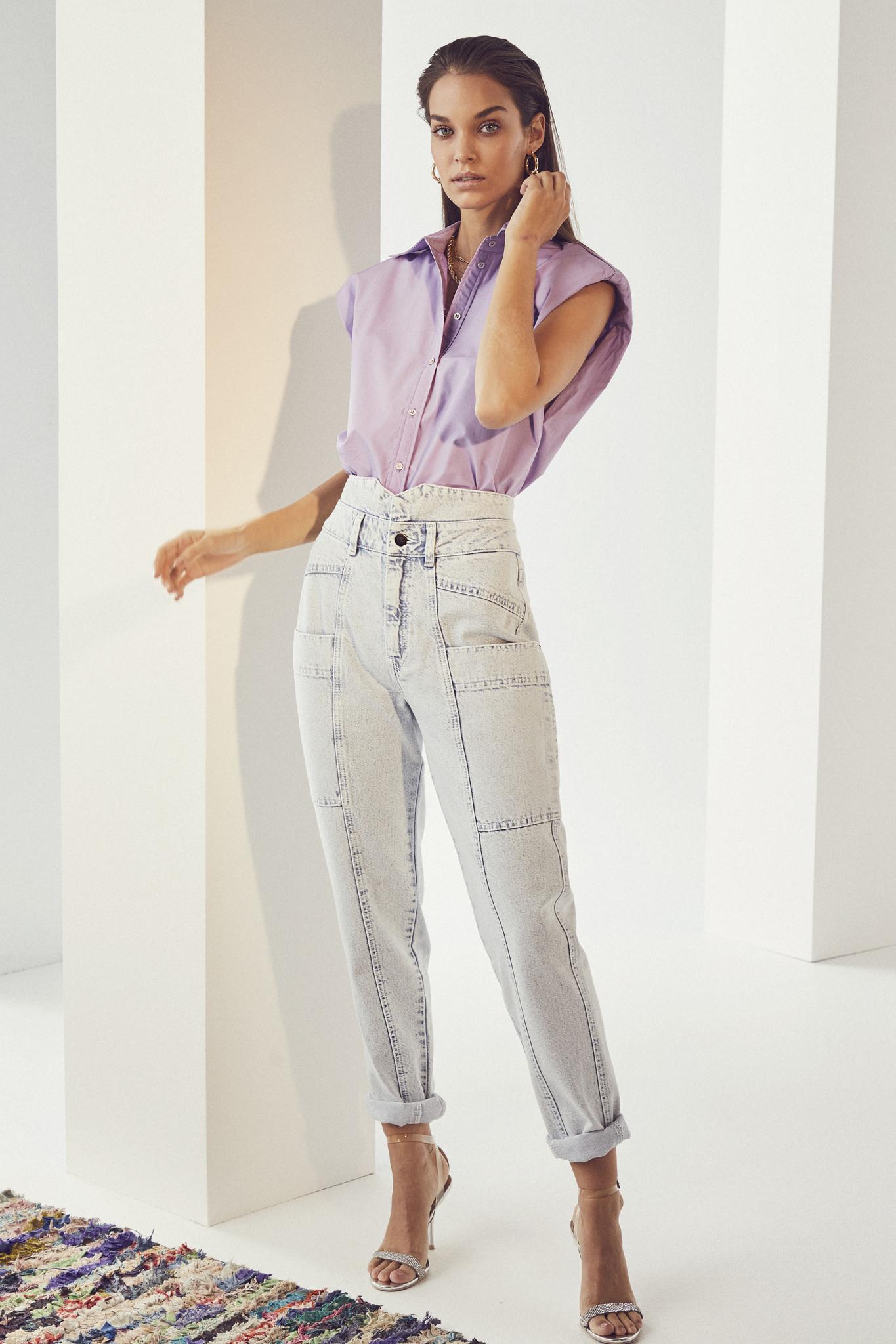 Yates Boxy Shoulder Shirt - Purple-3