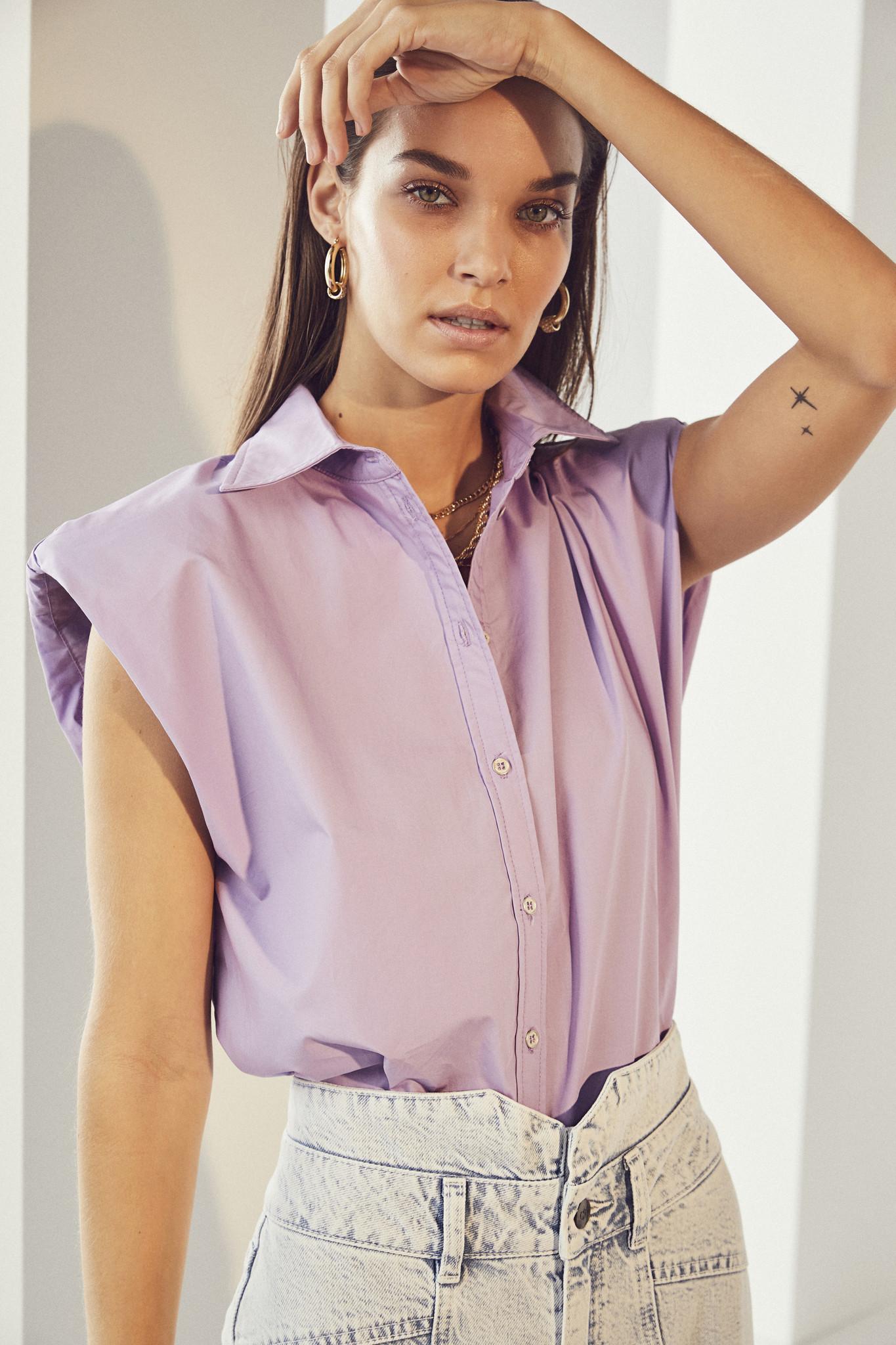 Yates Boxy Shoulder Shirt - Purple-2