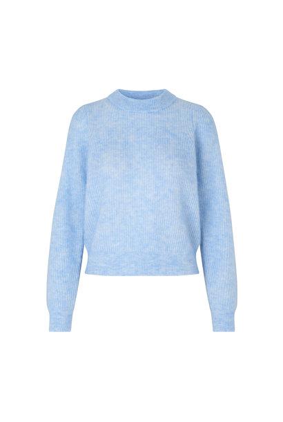 Brooky Knit Puff O-Neck - Brunnera Blue