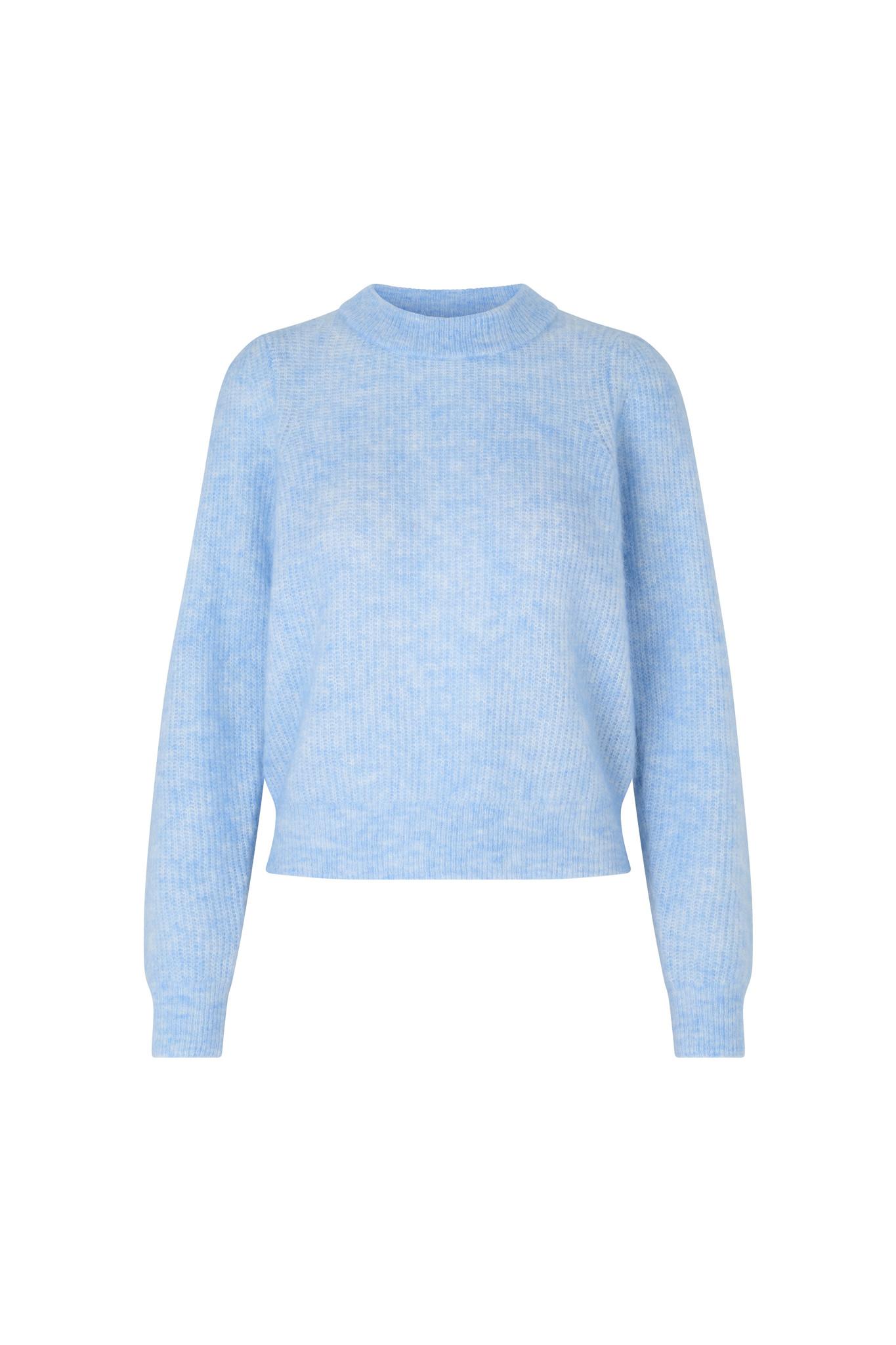 Brooky Knit Puff O-Neck - Brunnera Blue-1