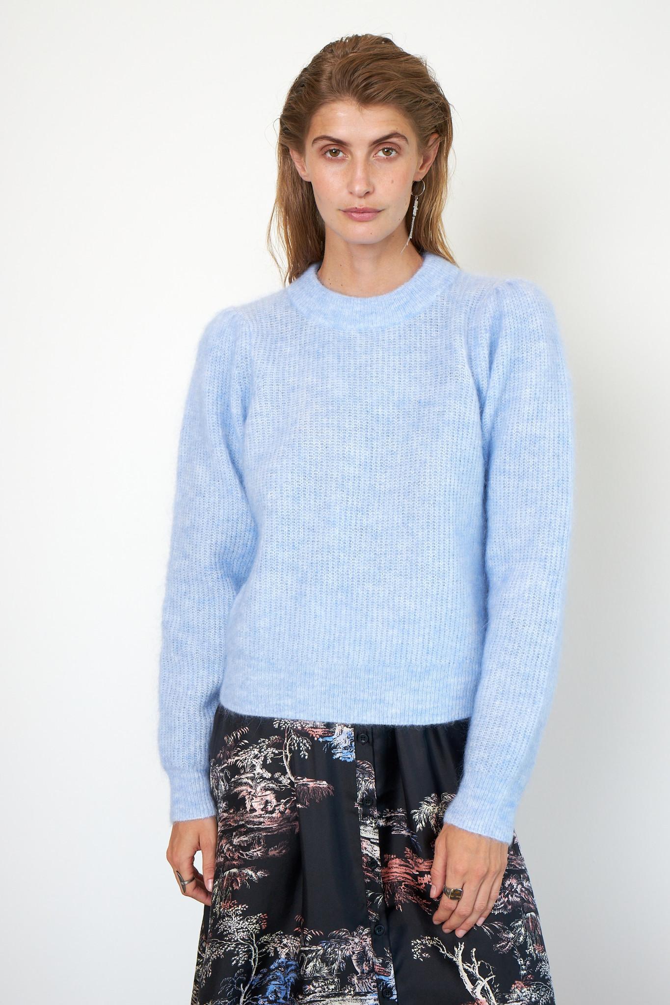 Brooky Knit Puff O-Neck - Brunnera Blue-2