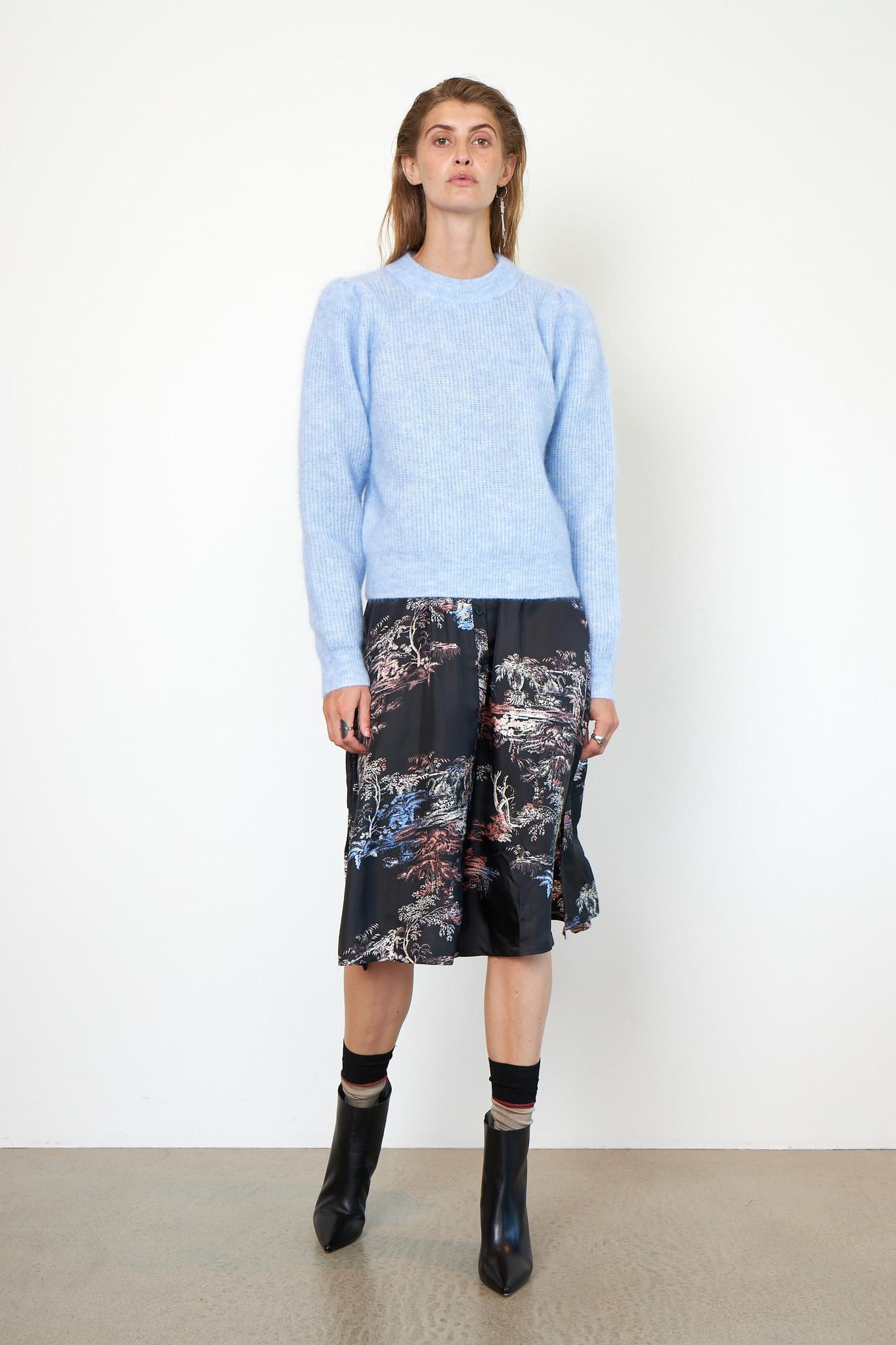 Brooky Knit Puff O-Neck - Brunnera Blue-4