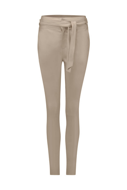 Ann Leather Pant - Pearl