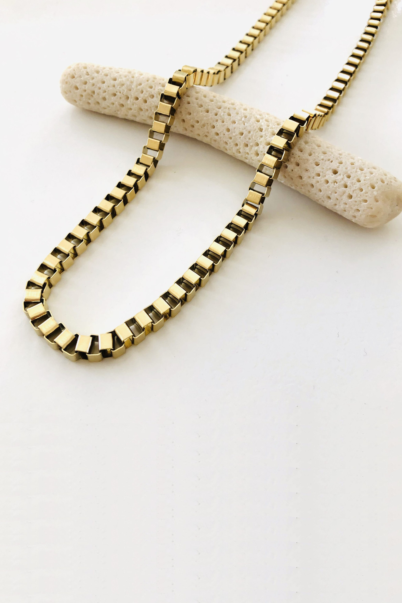 Box Chain Necklace - Gold-6