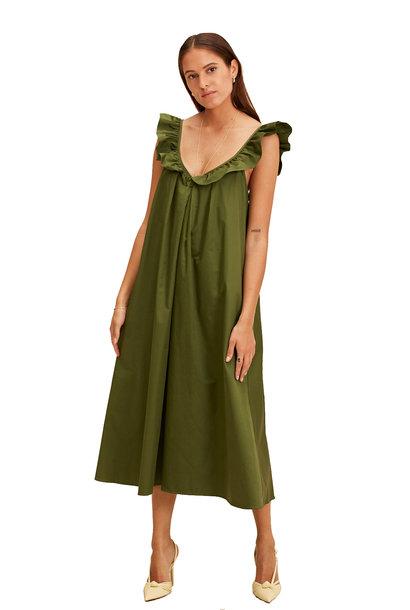 Midi Sleeveless Dress Valencia - Olive