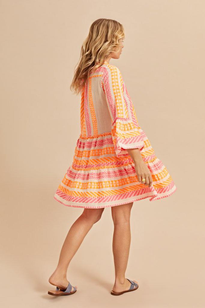 Short Dress Neon Ella - Neon Pink / Neon Orange-3