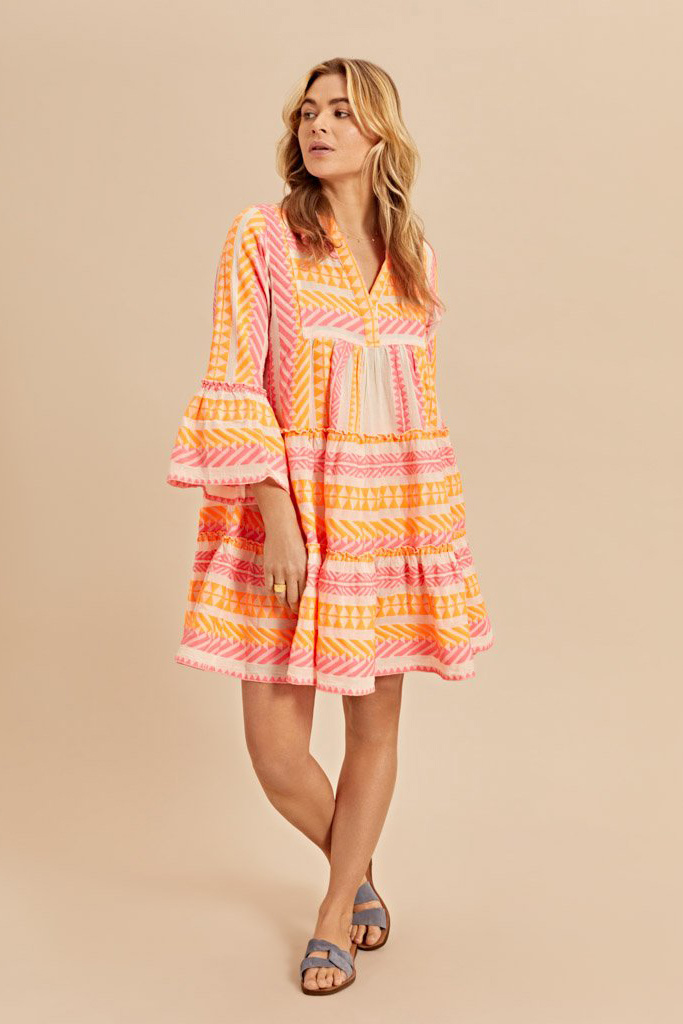 Short Dress Neon Ella - Neon Pink / Neon Orange-4