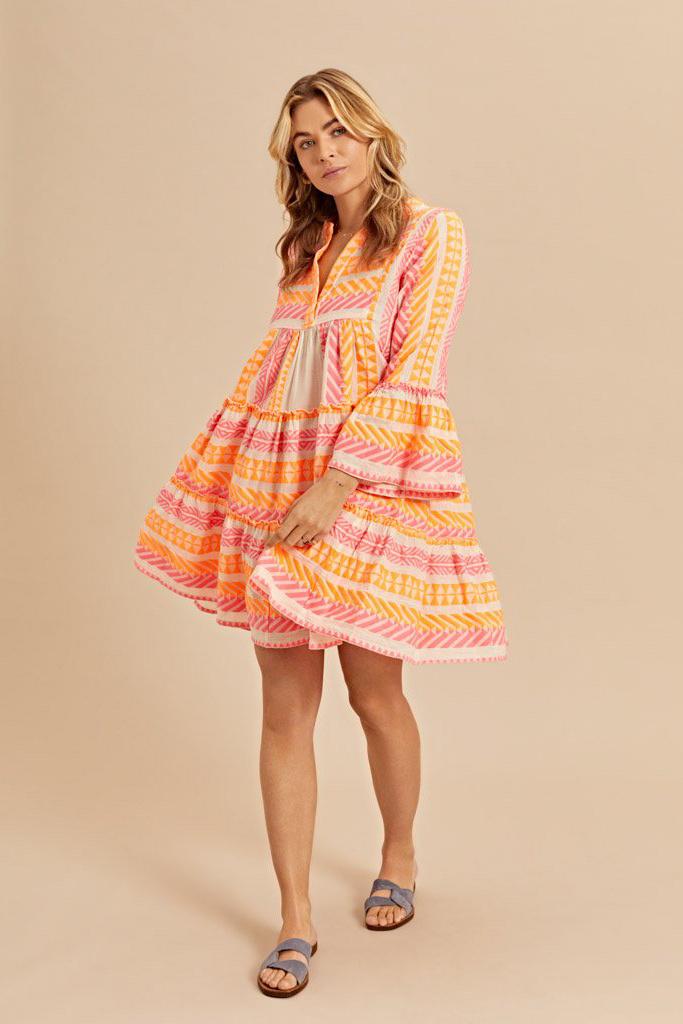 Short Dress Neon Ella - Neon Pink / Neon Orange-2