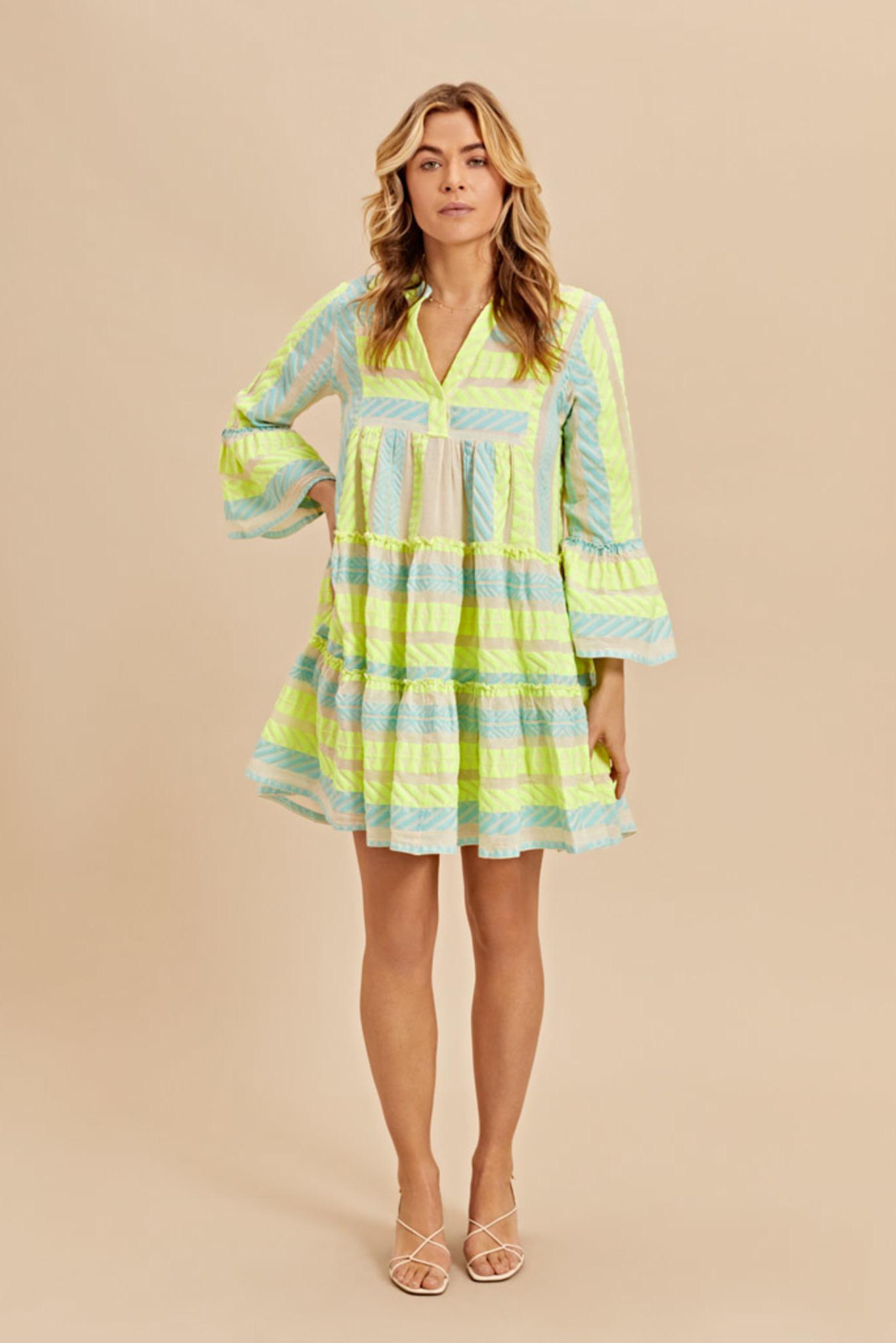 Short Dress Neon Ella - Neon Lime Blue-2