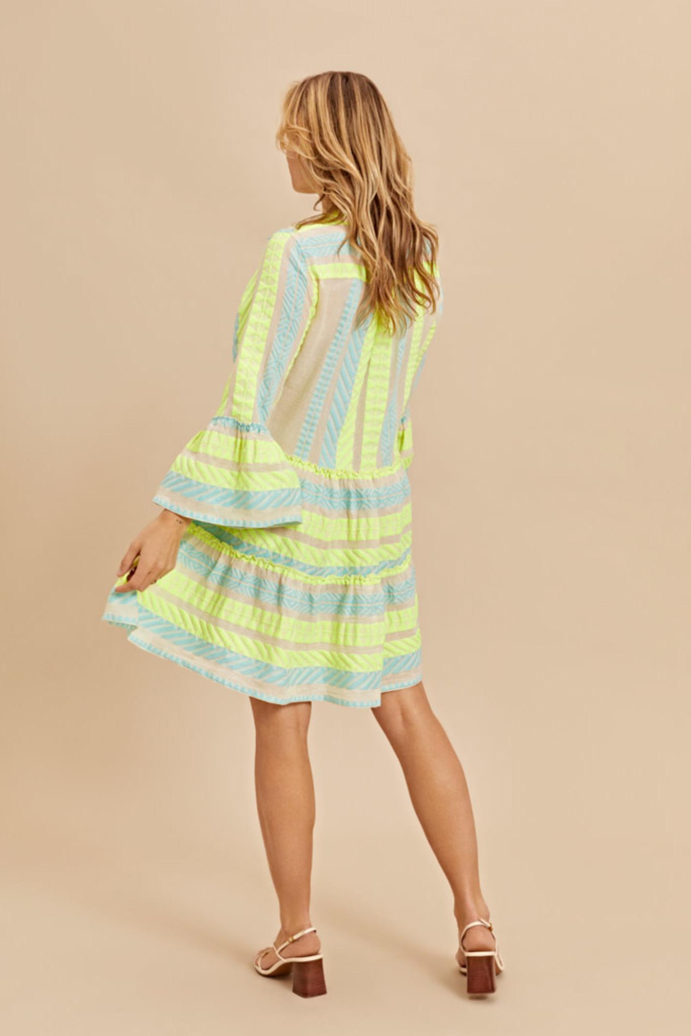 Short Dress Neon Ella - Neon Lime Blue-3