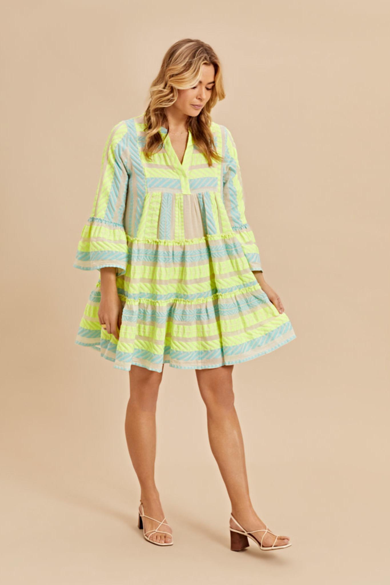Short Dress Neon Ella - Neon Lime Blue-4