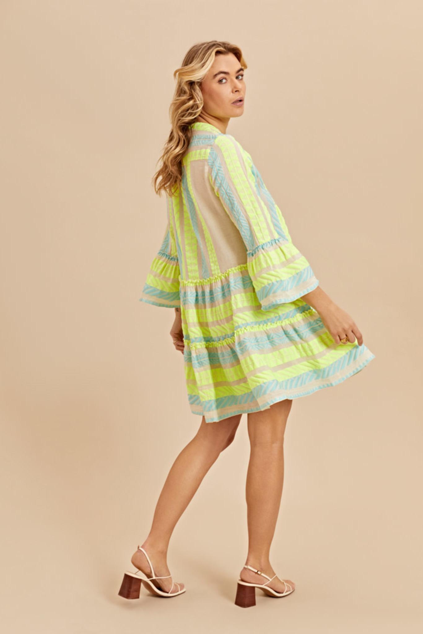 Short Dress Neon Ella - Neon Lime Blue-5