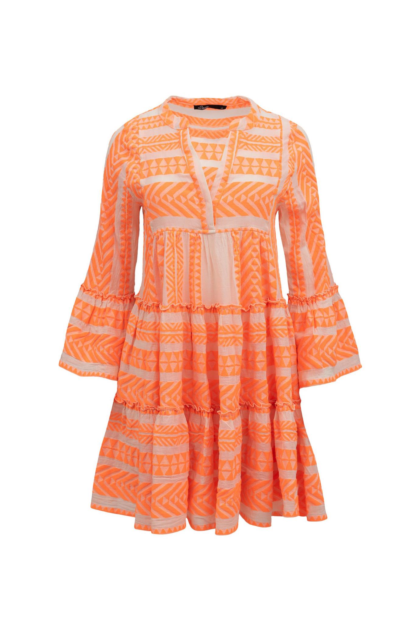Short Dress Neon Ella - Off White / Neon Orange-1