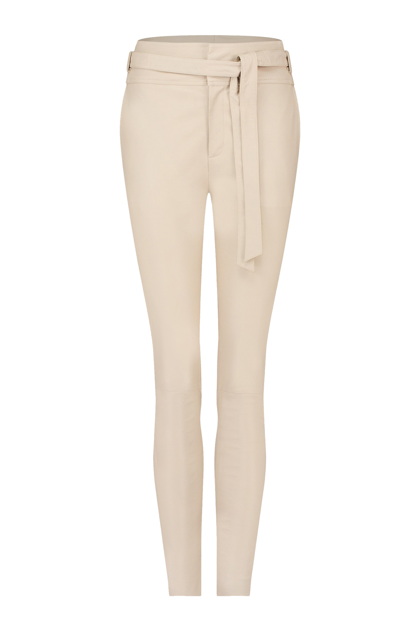 Ann Leather Pant - White Sand-1
