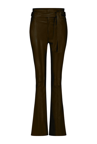 Panny Leather Flare Pant - New Chocolate