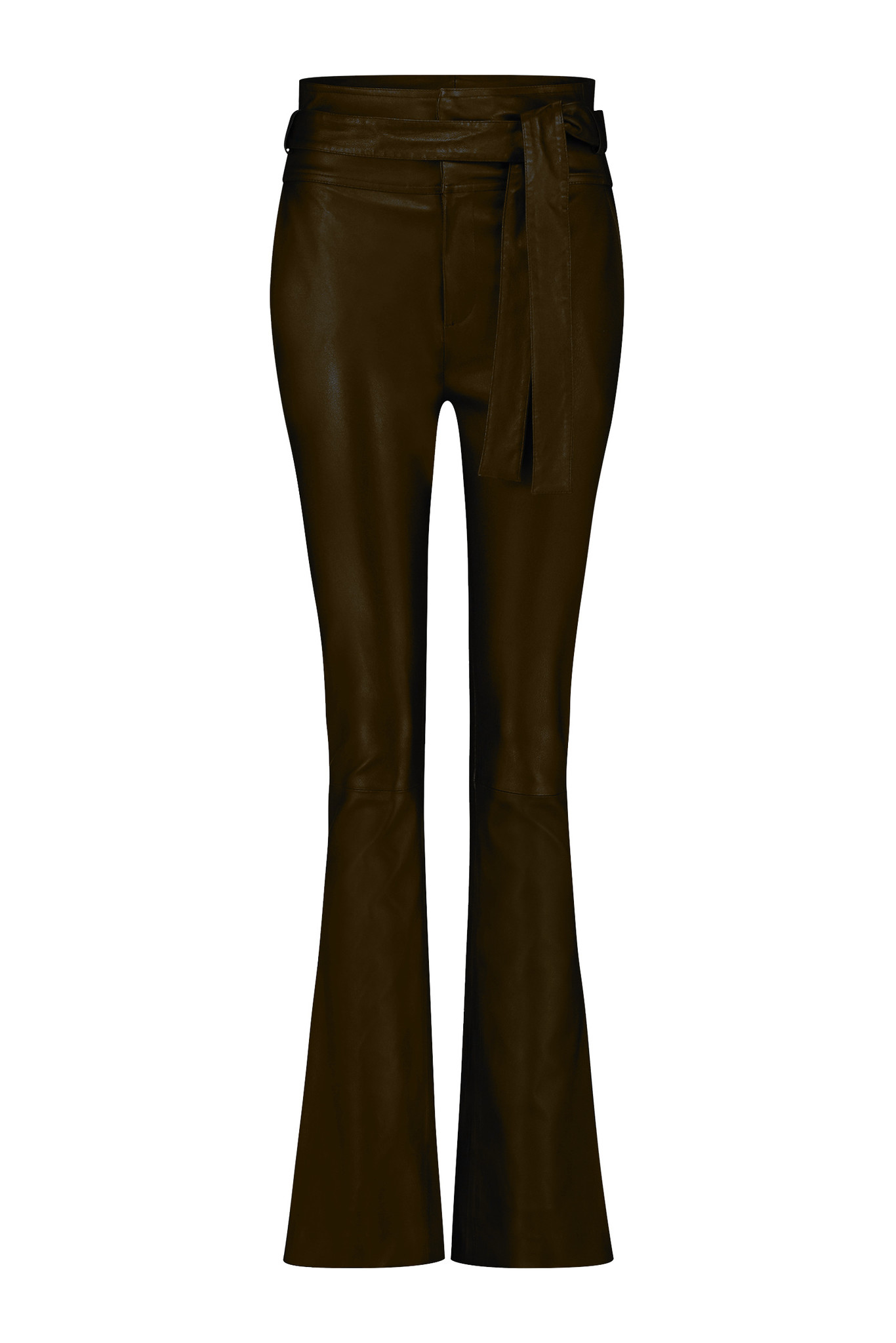 Panny Leather Flare Pant - New Chocolate-1
