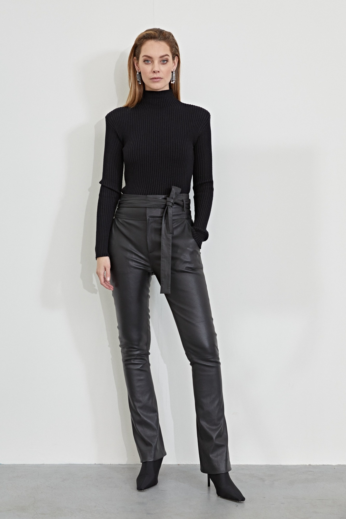 Panny Leather Flare Pant - New Chocolate-2